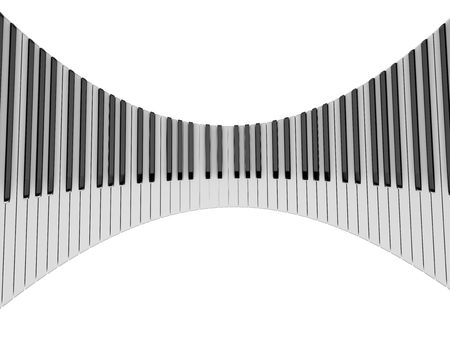 Bended piano keyboard isolated on white background