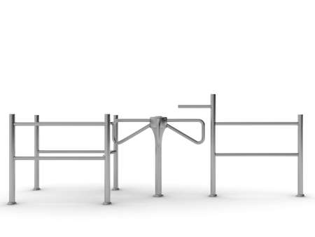 turnstile: Road to the turnstile. Isolated on white