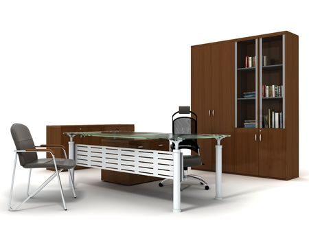 Office furniture set isolated on white background