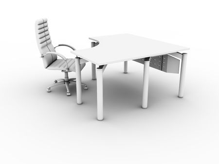 Office furniture set isolated on white background Stock Photo - 4947977