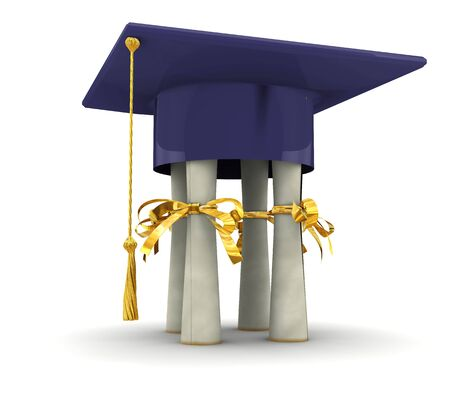 baccalaureate: Bachelor cap stand on diplomas. On white background
