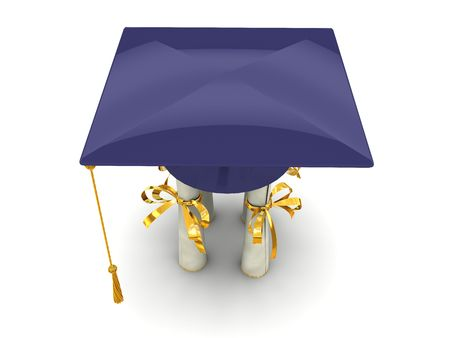 Bachelor cap stand on diplomas. On white background Stock Photo - 4947982