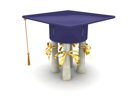 Bachelor cap stand on diplomas. On white background Stock Photo - 4947975