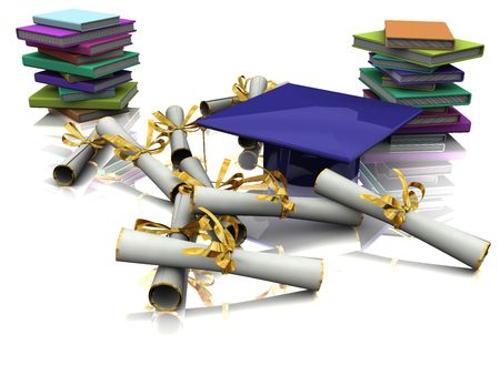 baccalaureate: Bachelor cap, diploma and books on mirror plane Stock Photo