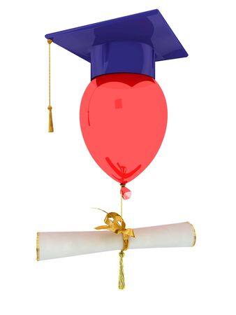 Bachelor cap dressed on balloon. Isolated on white photo