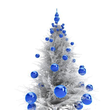 Light grey christmas tree with blue balls