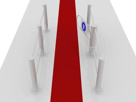 tourniquet: Road to the turnstile. Isolated on white