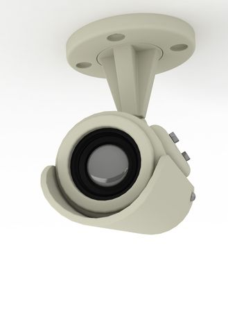 Camera video surveillance isolated on white background