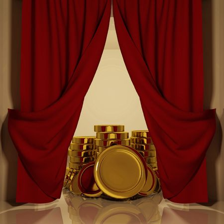 Red curtains with open-angle, which is visible stack of coins Stock Photo