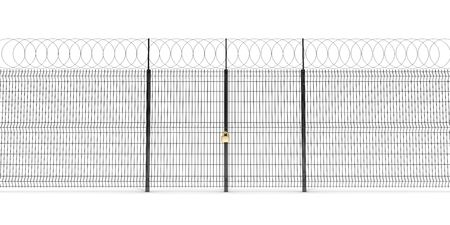 The metal fence with barbed wire. Doors closed at golden lock