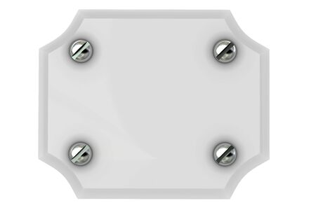 Empty plate which twisted four bolt. On white