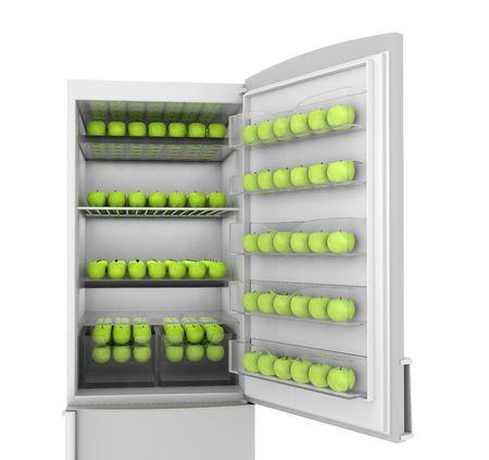 Full refrigerator green apples. 3d render on white photo