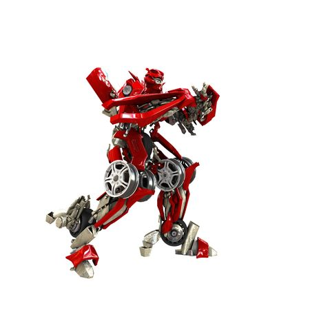 Robot isolato su sfondo bianco. 3D render Archivio Fotografico