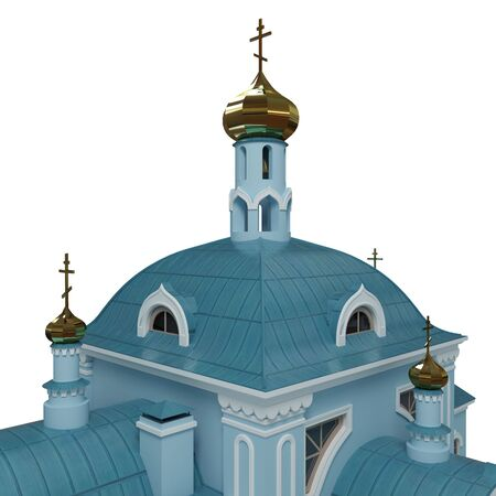 church 3d: Layout of Christian church. 3d render. Isolated.
