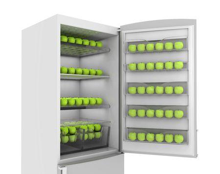 Full refrigerator green apples. 3d render on white Stock Photo