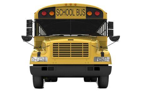 Unico scuolabus giallo isolato su sfondo bianco