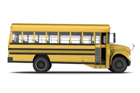 school transportation: Single autob�s amarillo aislados sobre fondo blanco