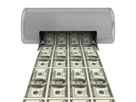 Equipment prints dollars. Isolated on white background Stock Photo