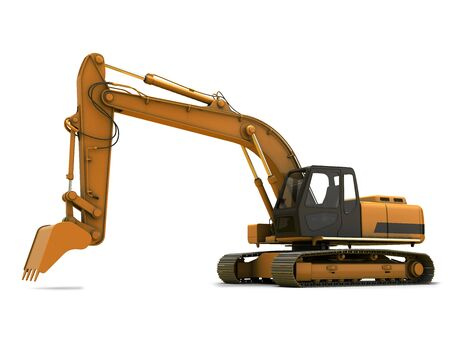 excavating: Orange dirty digger isolated on white background Stock Photo