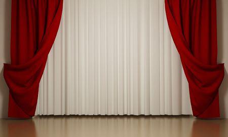 cortinas blancas: Cortinas de rojos y blancos con �ngulo de apertura
