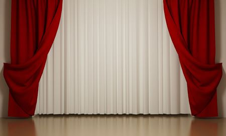 Red and white curtains with open-angle