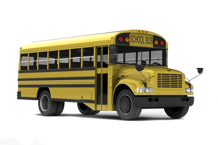 yellow schoolbus: Single yellow school bus isolated on white background