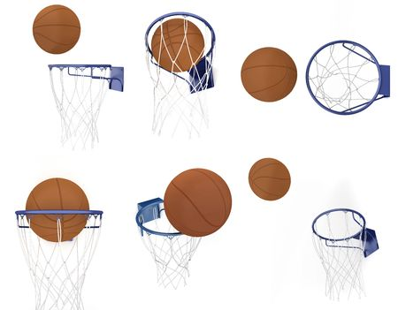 Two basketball items isolated on white background