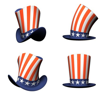 uncle sam hat: Cartoon Hat with American flag isolated on white background