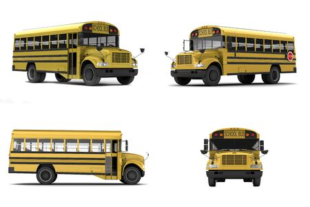 school buses: Single yellow school bus isolated on white background