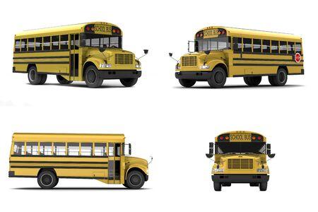 school transportation: Solo los autobuses escolares amarillos aislados sobre fondo blanco