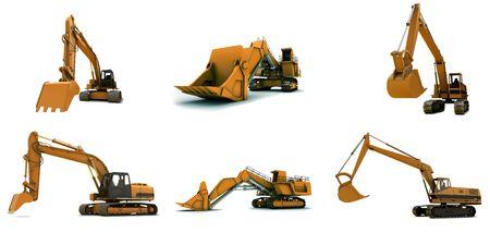 maquinaria pesada: Excavadoras de naranja m�s grande aisladas sobre fondo blanco