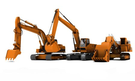 Three orange dirty diggers isolated on white background Stock Photo - 5788028