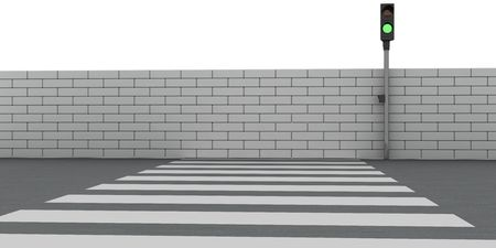 Absurd crosswalk. The road leads into a brick wall