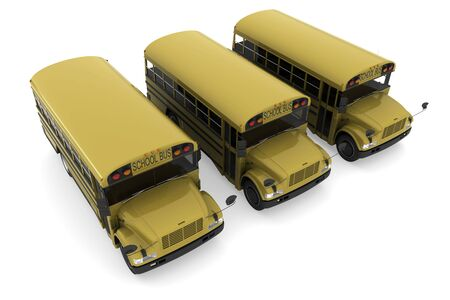 Three yellow school buses isolated on white background Stock Photo - 5788023