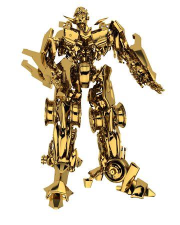 Robot transformer isolated on white background. 3d render