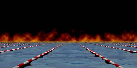 Swimming path. Separated by a barrier. 3d render photo