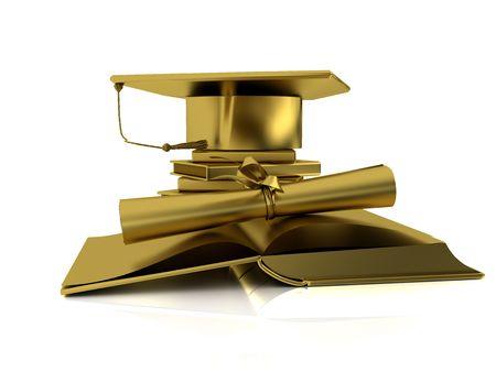 Golden bachelor cap, diploma and open books on mirror plane photo