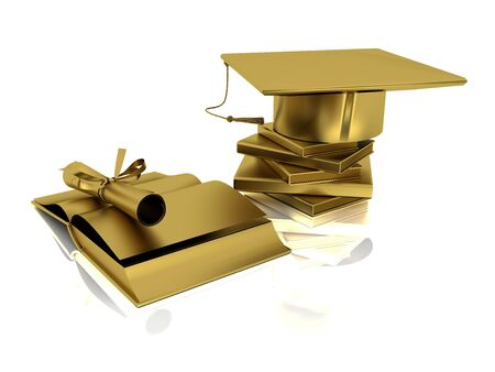 Golden bachelor cap, diploma and open books on mirror plane