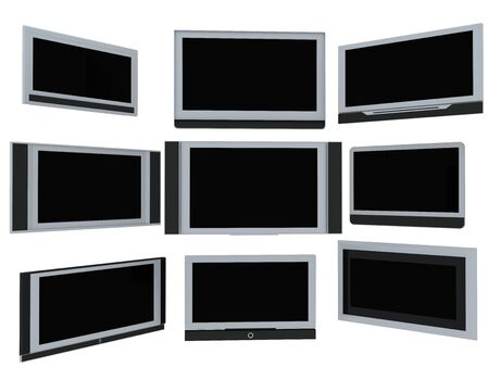 Few widescreen TVs. 3d render. On white background