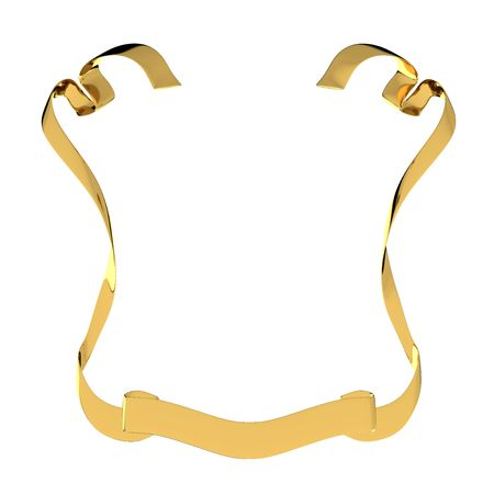 Golden heraldic ribbon isolated on white background Stock Photo