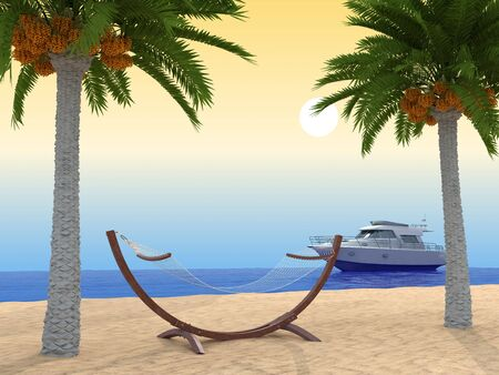 Tropical beach. With palm and ship. 3d render. photo