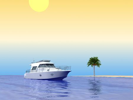 Tropical beach. With palm and ship. 3d render. Stock Photo - 6015331