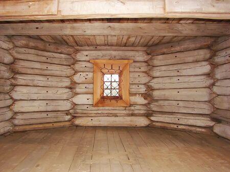 Old wooden interior. Russian obsolete rural interior