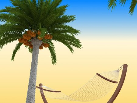 Tropical beach. With palm and ship. 3d render. Stock Photo - 6033952