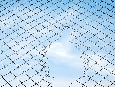 Silhouette mesh fence. Hole in the fence