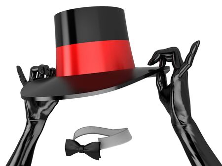 Womens hat and black gloves to cabaret. Isolated on white.