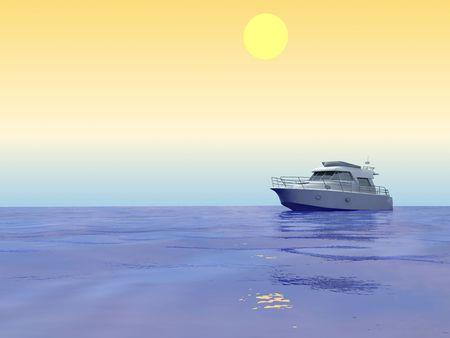 Tropical sea. With ship. Computer graphics Stock Photo - 6116295