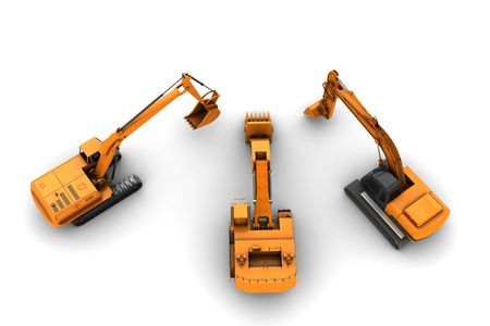 Three orange dirty diggers isolated on white background