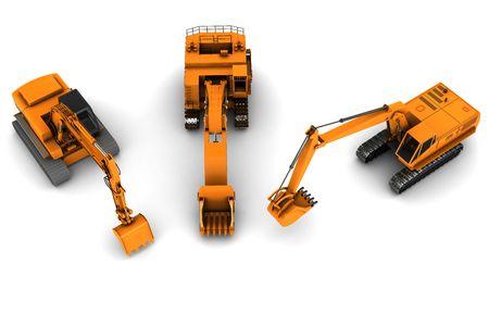 Three orange dirty diggers isolated on white background Stock Photo - 6116316