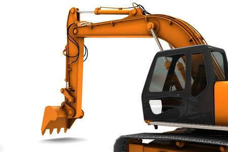 maquinaria pesada: Naranja excavadora sucio aislado sobre fondo blanco